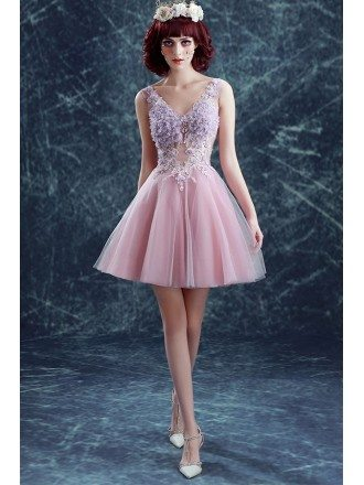 Pink A-line V-neck Short Tulle Formal Dress With Flowers