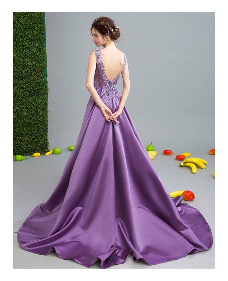 Luxurious ball gown v neck court train satin wedding dress for V neck satin wedding dress