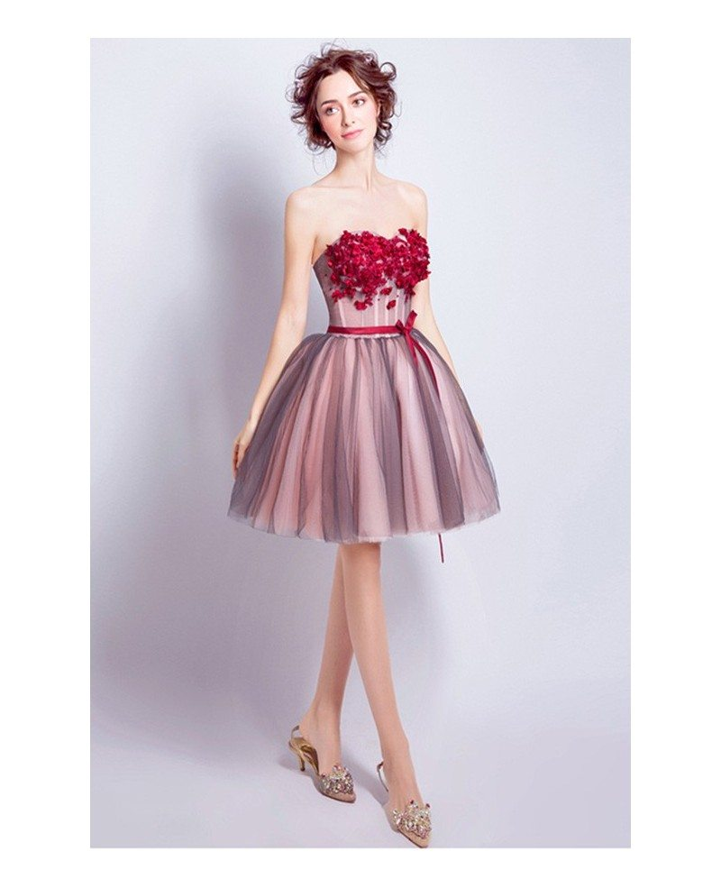 Red Ball-gown Sweetheart Short Tulle Formal Dress With Flowers ...