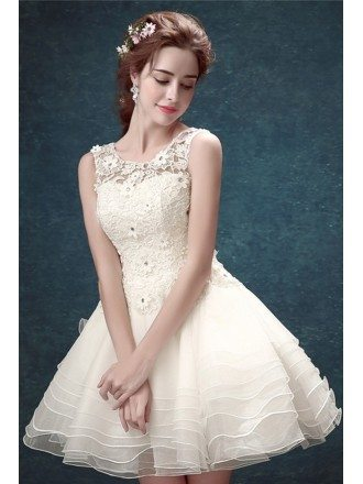 Cute Ball-gown Scoop Neck Short Tulle Wedding Dress With Open Back