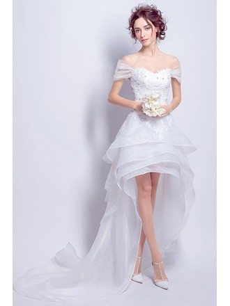 Sexy A-line Off-the-shoulder High Low Tulle Wedding Dress With Lace