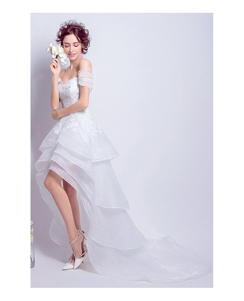 Best Off Shoulder High Low Wedding Dresses Ruffles With Train Sexy - Sexy White Wedding Dress