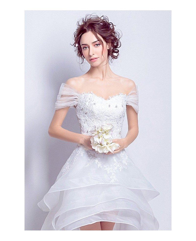Best off shoulder high low wedding dresses ruffles with for Tulle high low wedding dress