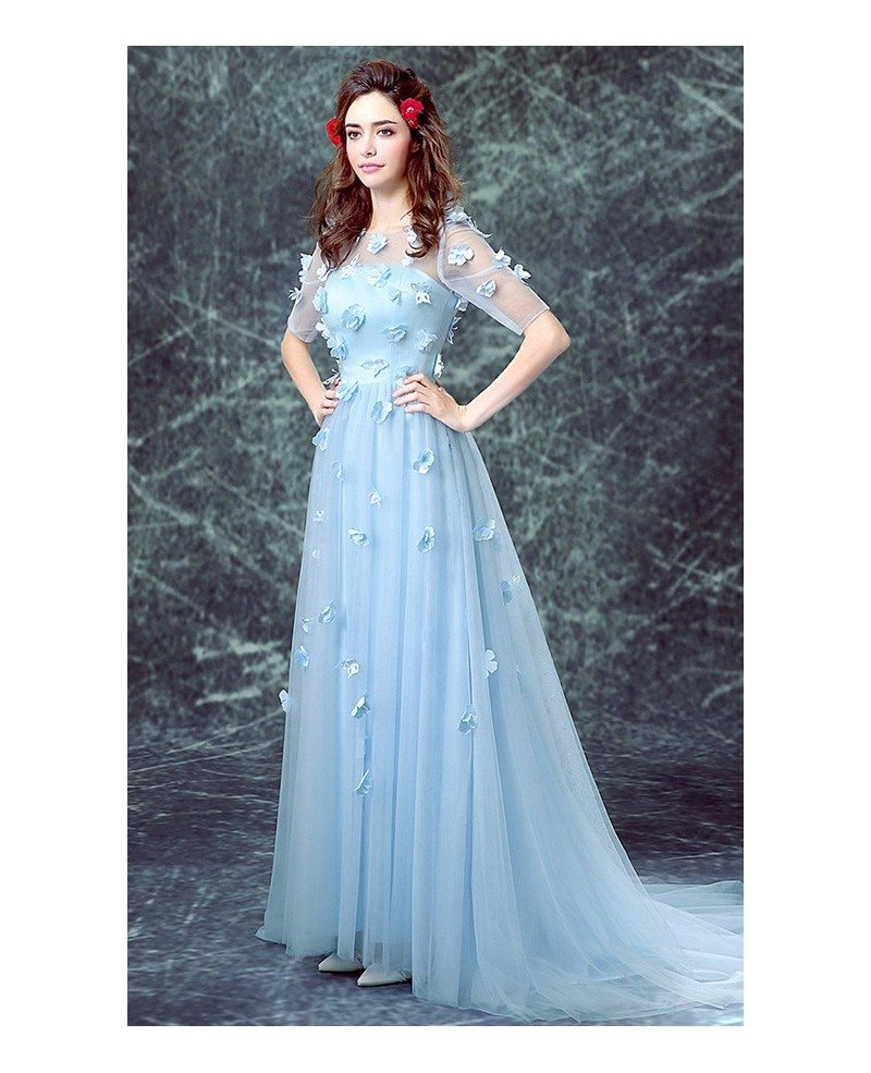 Blue a line scoop neck sweep train tulle wedding dress for Blue wedding dress with sleeves