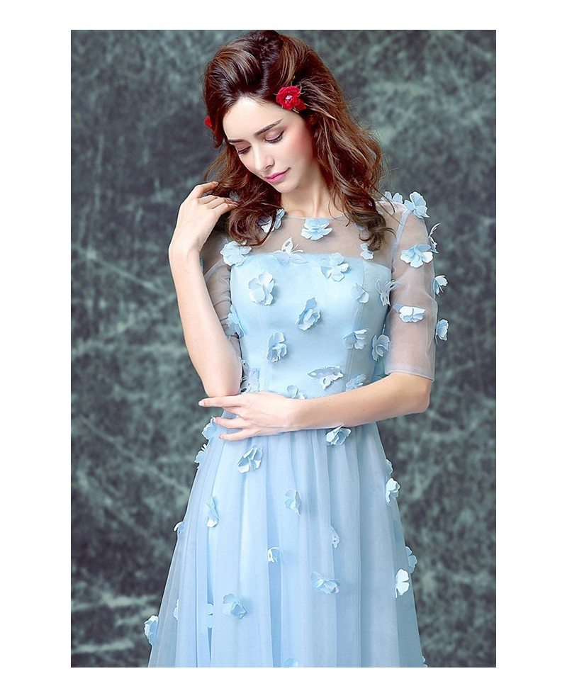 Blue A Line Scoop Neck Sweep Train Tulle Wedding Dress