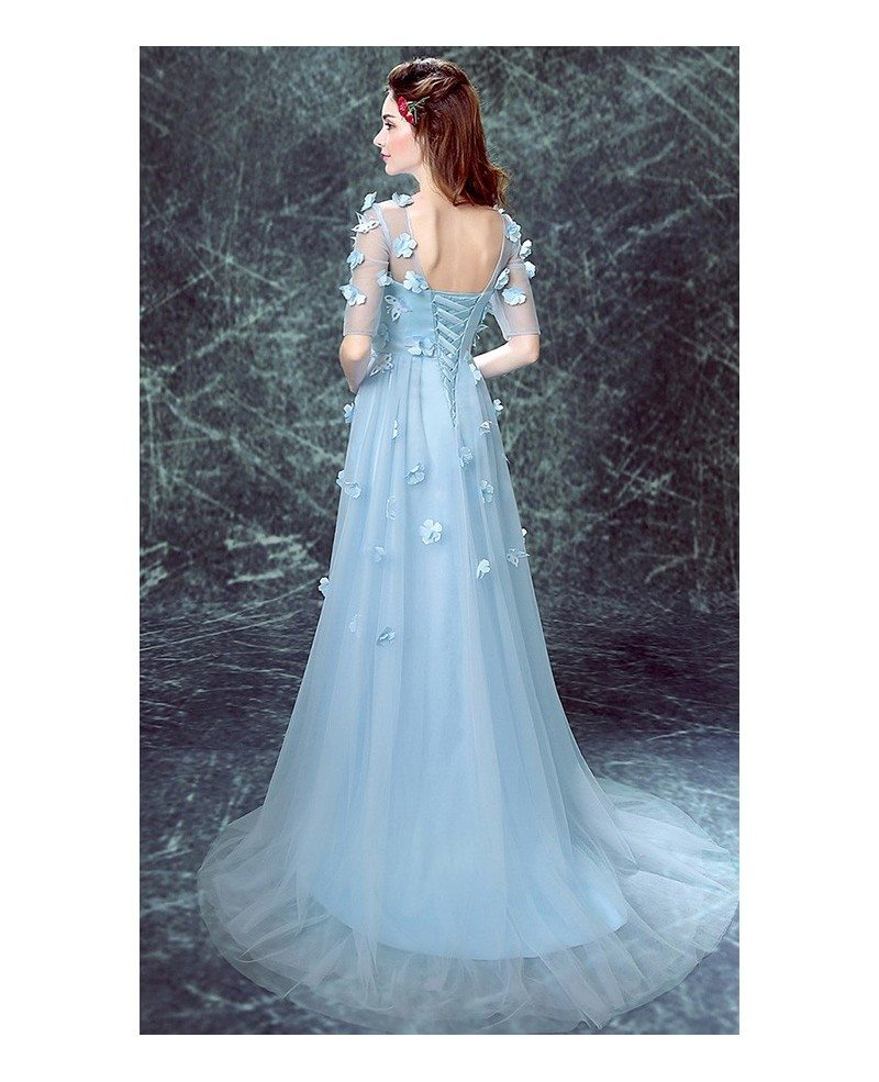 Simple Design Scoop Neck Long Sleeve Long A Line Tulle: Blue A-line Scoop Neck Sweep Train Tulle Wedding Dress