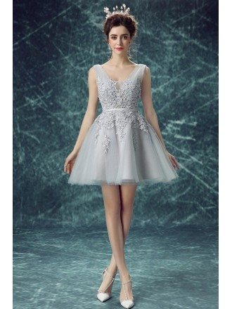 Grey A-line V-neck Short Tulle Formal Dress With Appliques Lace