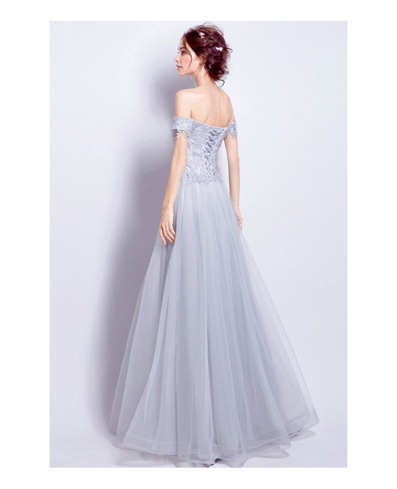 Grey a line off the shoulder floor length tulle wedding for Tulle a line wedding dress