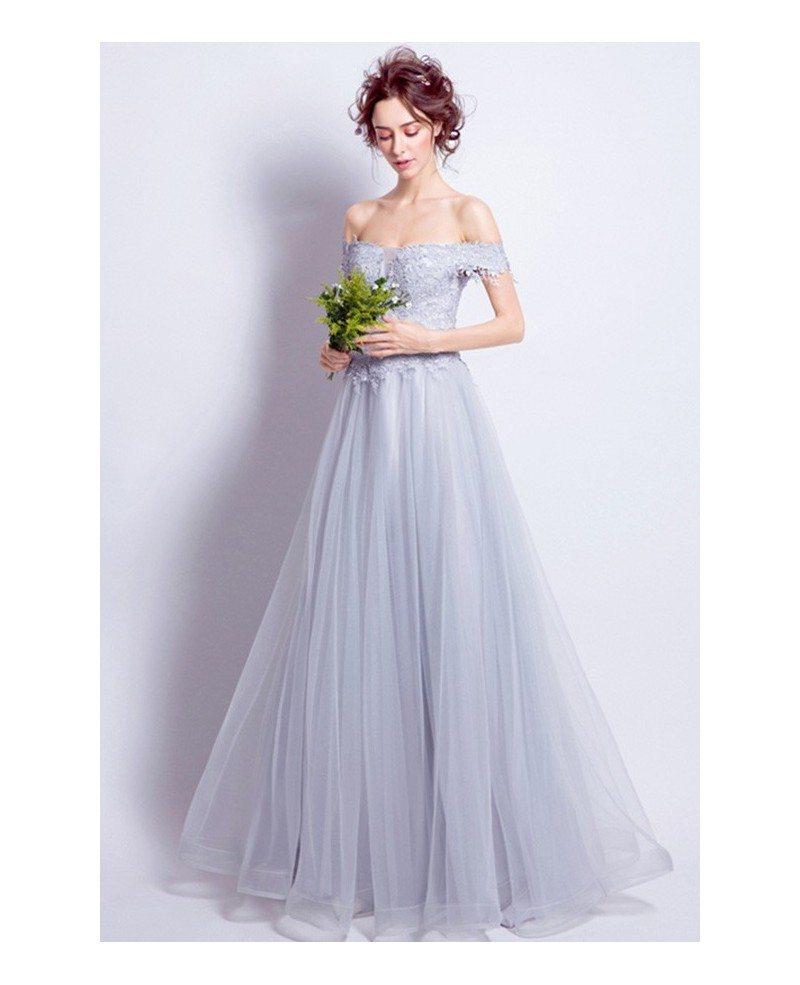 Grey a line off the shoulder floor length tulle wedding for Grey dresses for a wedding