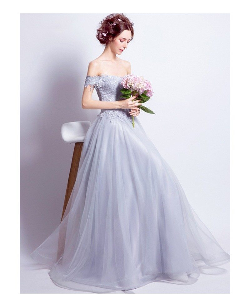 Grey a line off the shoulder floor length tulle wedding for Lace off the shoulder wedding dresses