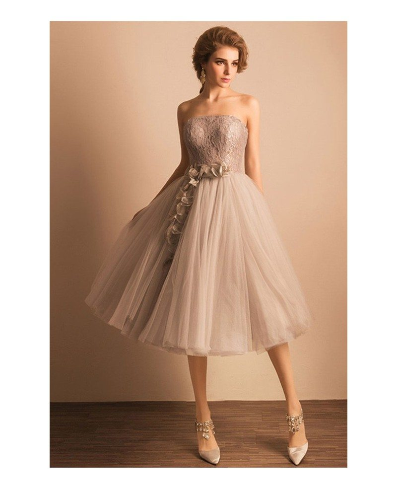 Retro tea length wedding dresses tulle strapless a line for A line tea length wedding dress