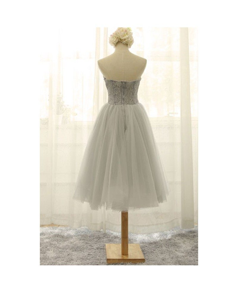 Retro tea length wedding dresses tulle strapless a line for Retro tea length wedding dress