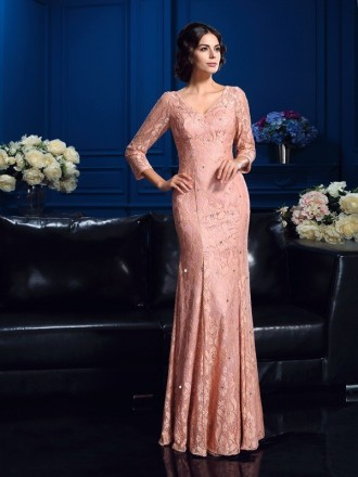 Sheath V-neck Floor-length Lace Mother of the Bride Dress With Sleeves