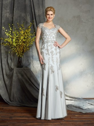 Sheath Sweetheart Floor-length Satin Mother of the Bride Dress With Appliques Lace