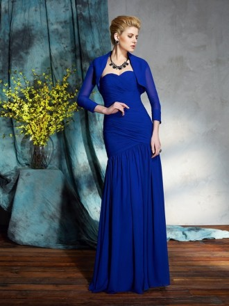 Sheath Sweetheart Floor-length Chiffon Mother of the Bride Dress