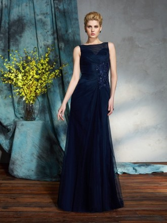 A-line Scoop Neck Floor-length Tulle Mother of the Bride Dress With Beading