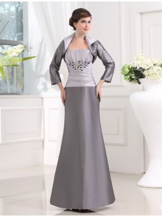 Sheath Strapless Floor-length Satin Mother of the Bride Dress With Beading