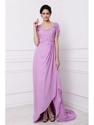 Sheath Square Neckline Sweep Train Chiffon Mother of the Bride Dress