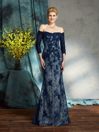 Mermaid Off-the-shoulder Floor-length Lace Mother of the Bride Dress With Sleeves
