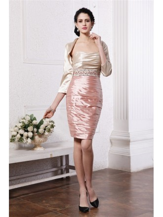 Sheath Strapless Knee-length Taffeta Mother of the Bride Dress