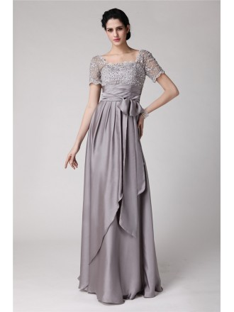 Empire Square Neckline Floor-length Satin Mother of the Bride Dress
