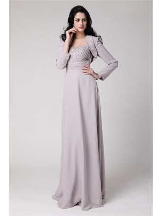 Empire Strapless Floor-length Chiffon Mother of the Bride Dress With Beading