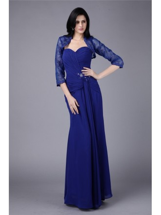 Sheath Sweetheart Floor-length Chiffon Mother of the Bride Dress With Open Back
