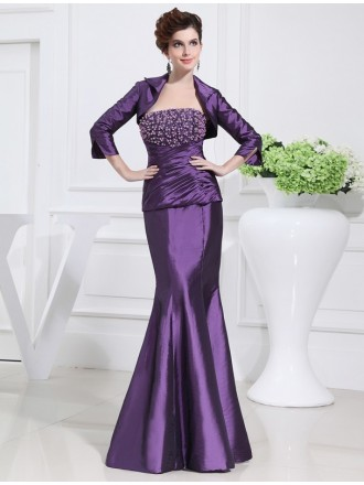 Mermaid Strapless Floor-length Satin Mother of the Bride Dress With Beading