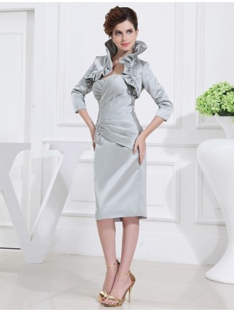 Sheath Sweetheart Knee-length Satin Mother of the Bride Dress With Beading