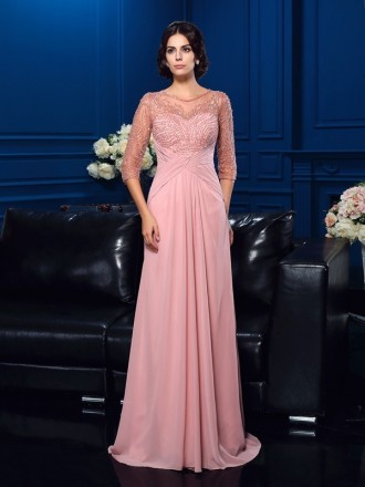 A-line Scoop Neck Sweep Train Chiffon Mother of the Bride Dress With Beading