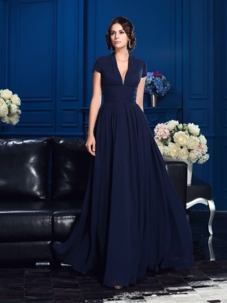 Empire V-neck Floor-length Chiffon Mother of the Bride Dress With Sleeves