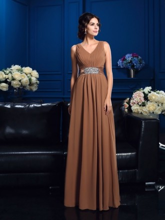 Empire V-neck Floor-length Chiffon Mother of the Bride Dress With Belt