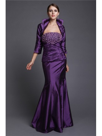 Mermaid Strapless Floor-length Taffeta Mother of the Bride Dress With Beading