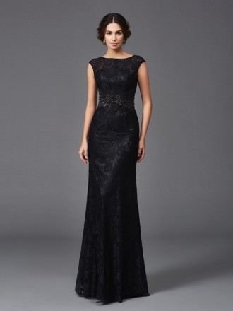 Sheath Scoop Neck Floor-length Lace Mother of the Bride Dress With Beading