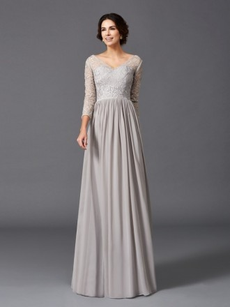 A-line V-neck Floor-length Chiffon Mother of the Bride Dress With Sleeves