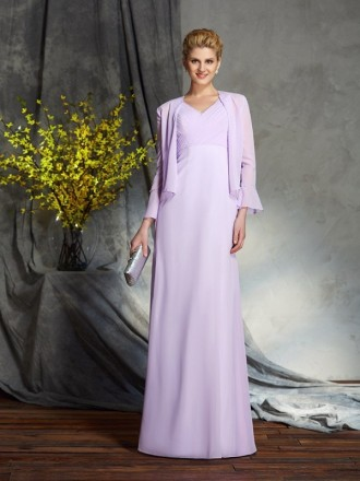 Empire V-neck Floor-length Chiffon Mother of the Bride Dress