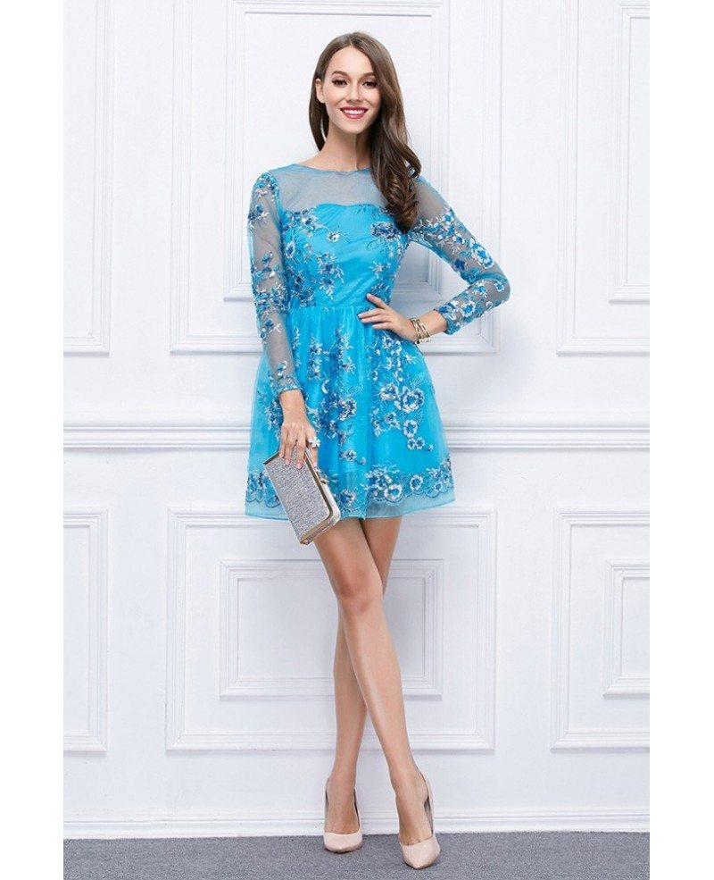 Stylish Floral Print Tulle Short Wedding Guest Dress With Sleeves ...