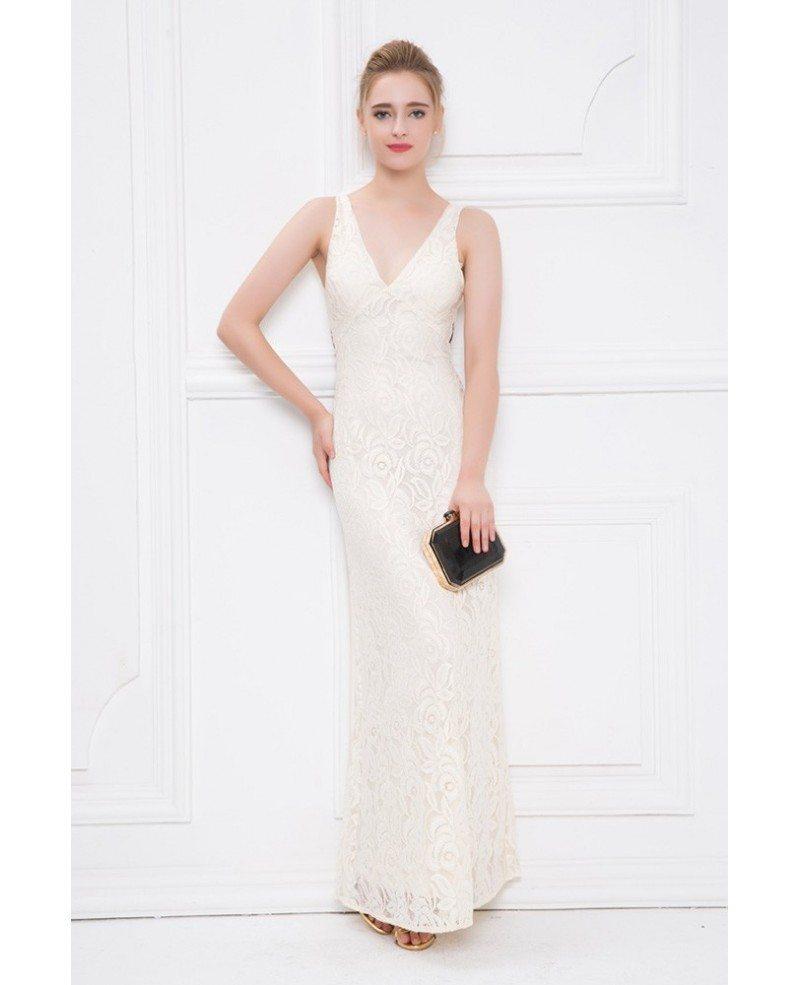 Elegant Sheath V-neck White Lace Long Evening Dress #CK413 $82.4 ...