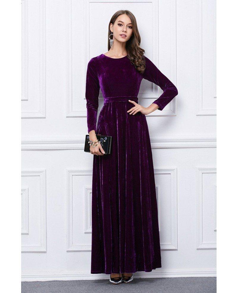 Luxurious Velvet Evening Dress With Long Sleeves Ck119 1079
