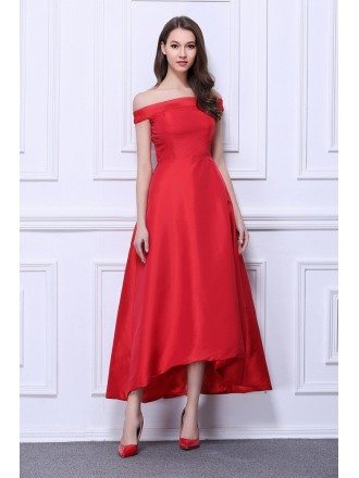 Vintage A-Line Off-the-Shoulder Satin Tea-Length Dress