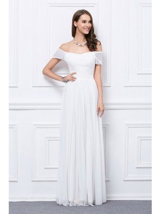 Elegant A-Line Off-the-Shoulder Chiffon Evening Dress With Ruffle