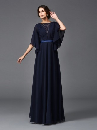 A-line High Neck Floor-length Chiffon Mother of the Bride Dress With Sleeves