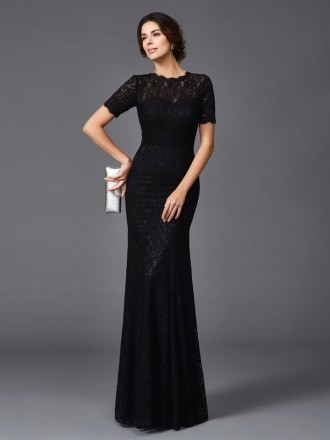 Sheath High Neck Floor-length Lace Mother of the Bride Dress With Sleeves
