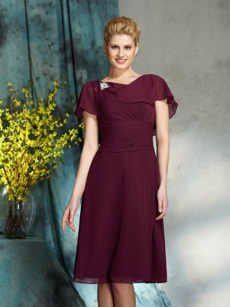 A-lien High Neck Knee-length Chiffon Mother of the Bride Dress With Open Back