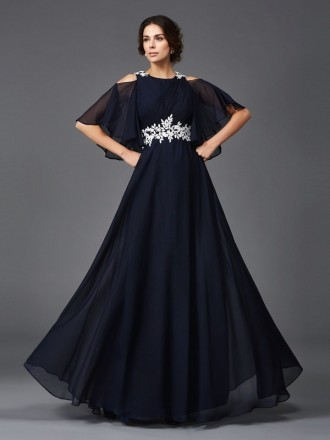 A-line High Neck Floor-length Chiffon Mother of the Bride Dress With Appliques Lace