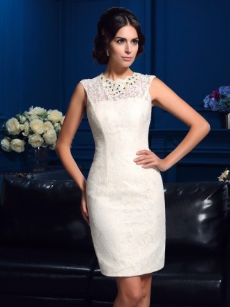 Sheath High Neck Short Lace Mother of the Bride Dress With Beading