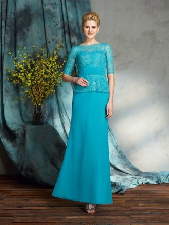 Sheath High Neck Floor-length Chiffon Mother of the Bride Dress With Beading