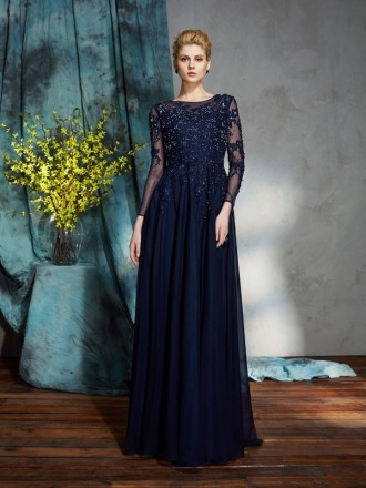 A-line High Neck Floor-length Chiffon Mother of the Bride Dress With Long Sleeves