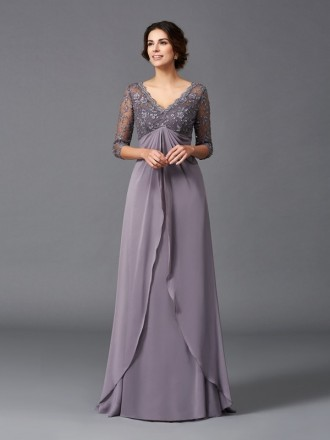 Empire V-neck Floor-length Chiffon Mother of the Bride Dress With Lace