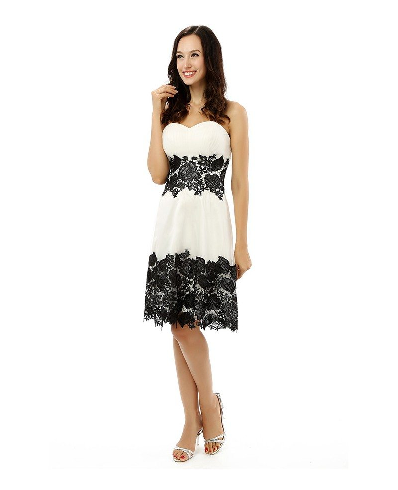 A Line Sweetheart Knee Length Prom Dress With Lace Yh0080